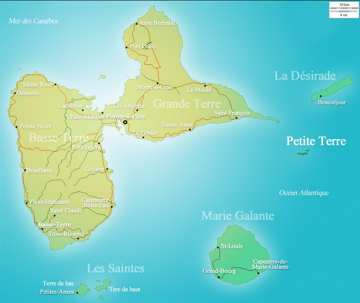 Guadeloupe map - carte